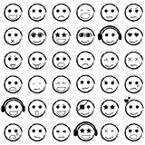 Set of Emoticons hand drawn. Collection emoji icons. Royalty Free Stock Images