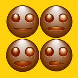 Set of emoticons,icons,smileys chocolate color vector illustrati Stock Images