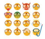 Set Emoticons Ikone mit sechzehn Lächeln Gelbe emojis Lizenzfreies Stockfoto
