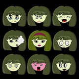 A set of emoticons. Little vampire, with fangs zombies. Beautiful vampire,hysteria, anger, surprise, tears, crying, melancholy, sadness, anxiety, the smoker Royalty Free Stock Photos