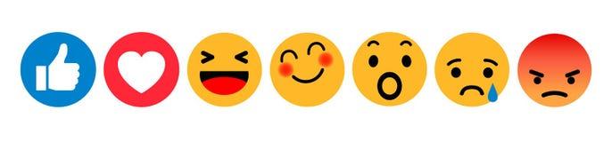 Set Emoticons Reaktionsikone Emoji-Sozialen Netzes Gelbe smilies, stellten smileygefühl, durch smilies, Karikatur Emoticons ein stock abbildung