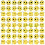 Set of emoticons sad green-eyed, kind, happy. vector illustratio Stock Images