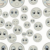 Set of emoticons sad, kind, happy seamless monochrome. vector il Royalty Free Stock Image