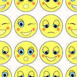 Set of emoticons sad, kind, happy seamless. vector illustration Royalty Free Stock Images