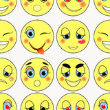 Set of emoticons sad, kind, love, happy seamless. vector illustr Stock Image