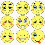 Set of emoticons sad, kind, love, happy. vector illustration Royalty Free Stock Photography
