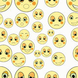 Set of emoticons sad, kind seamless. vector illustration Stock Image