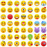 Set Emoticons Satz von Emoji Lächelnikonen Lokalisierte Vektorillustration auf weißem Hintergrund Stockbild
