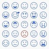Set Emoticons Satz von Emoji Satz des Avataras Lizenzfreie Stockfotos