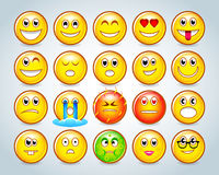 Set of Emoticons. Set of Emoji. Colorful Smiles set. Isolated vector illustrations. stock illustration