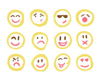 Set of Emoticons. Set of Emoji. Isolated vector illustration on white background. Collection of unique hand drawn Royalty Free Stock Image