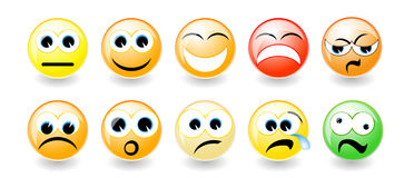 Set of emoticons  with shadow Royalty Free Stock Photography