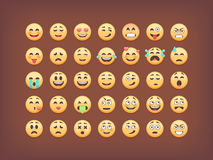 Set of emoticons, smileys  icon pack, emoji  on brown background, vector illustration Stock Image