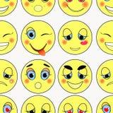 Set emoticons smutni, miły, miłość, szczęśliwy bezszwowy Wektorowy illustr Obraz Stock
