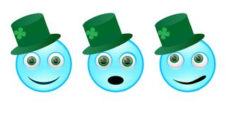 Set of emoticons for St. Patrick`s Day, different emotions vector illustration