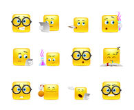 Set of emoticons for students Stock Photo