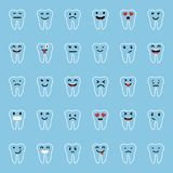 Set of Emoticons. Tooth character with different facial expressions, emotions. Flat design. Set of Emoji. Set of Emoticons. Tooth character with different Stock Images