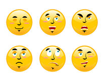 Set of emoticons on white background. Cartoon facial emotions. S Stock Images