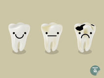 Set of emotion cartoon tooth including healthy tooth and decayed tooth Royalty Free Stock Photography
