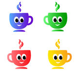 set of emotion colored the cups with funny eyes Stock Photography