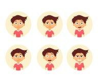 Set of emotion cute boy. Facial expression. Vector illustration of a flat design. Set of emotion cute boy. Facial expression. Boy Avatar. Vector illustration of stock illustration