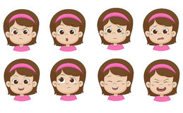 Set of emotion cute girl.vector and illustration Royalty Free Stock Photos