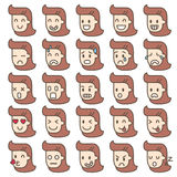 Set of emotion faces. women characters. Vector set icon of emotion faces Stock Images