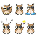 Set of emotion feeling cute owls vector cartoon designs Royalty Free Stock Photos
