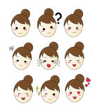 Set of 9 emotion Girls bun face Royalty Free Stock Image