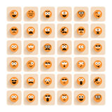 Set of emotion smiling faces icons Stock Image