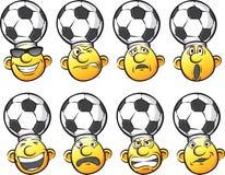 Set of emotion soccer fan heads Royalty Free Stock Image