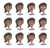 Set of emotional character. Cartoon style emoji. Isolated black girl avatars with different facial expressions. Flat illustration. Set of emotional character Stock Photography