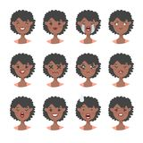 Set of emotional character. Cartoon style emoji. Isolated black girl avatars with different facial expressions. Flat illustration. Set of emotional character Royalty Free Stock Image