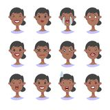 Set of emotional character. Cartoon style emoji. Isolated black girl avatars with different facial expressions. Flat illustration. Set of emotional character Royalty Free Stock Photos