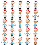 Set of emotional christmas man and woman royalty free illustration