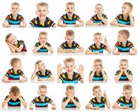 Set of emotional images of a boy with big blue eyes in a bright  T-shirt, collage, close-up, white background royalty free stock photos