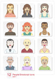Set emotional people icons color Stock Image