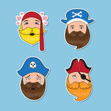 Set of emotional pirates. Different emotional faces. Royalty Free Stock Image