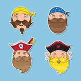 Set of emotional pirates. Different emotional faces. Royalty Free Stock Photos