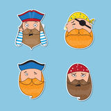 Set of emotional pirates. Different emotional faces. Stock Photo