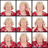 Set of emotions adult woman Royalty Free Stock Image