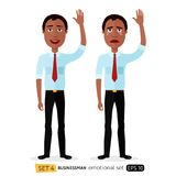Set of emotions for african american business man waving hand goodbye cartoon vector Royalty Free Stock Photo