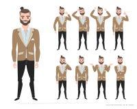 Set of emotions for business man. stock illustration