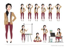 Set of emotions for business woman. Set of emotions and poses for business woman.Young girl in a cartoon style experiences different emotions and poses Stock Images
