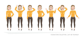 Set of emotions for business woman. Young girl in a cartoon style experiences different emotions Stock Photo
