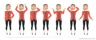Set of emotions for business woman. royalty free illustration