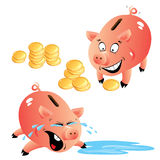Set of emotions cartoons piggy bank Royalty Free Stock Photos