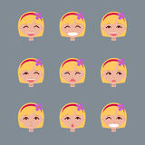 Set of emotions of fair-haired girl. royalty free illustration