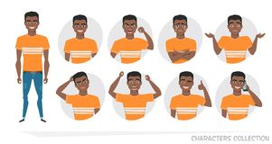 Set of emotions and gestures to the young black african american man. Royalty Free Stock Images