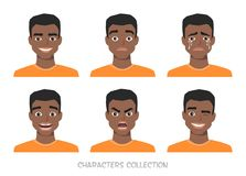 Set of emotions and gestures to the young black african american man. Stock Images